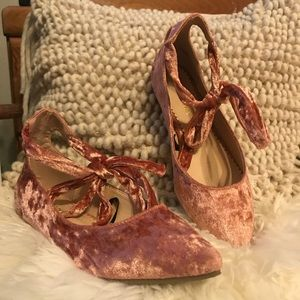 Boutique • crushed velvet ankle-wrap flats